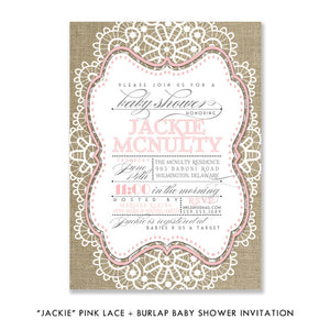"""Jackie"" Pink Lace + Burlap Baby Shower Invitation"