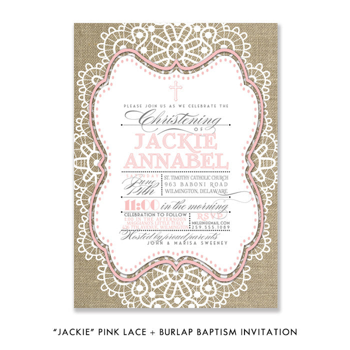 """Jackie"" Pink Lace + Burlap Christening Invitation"