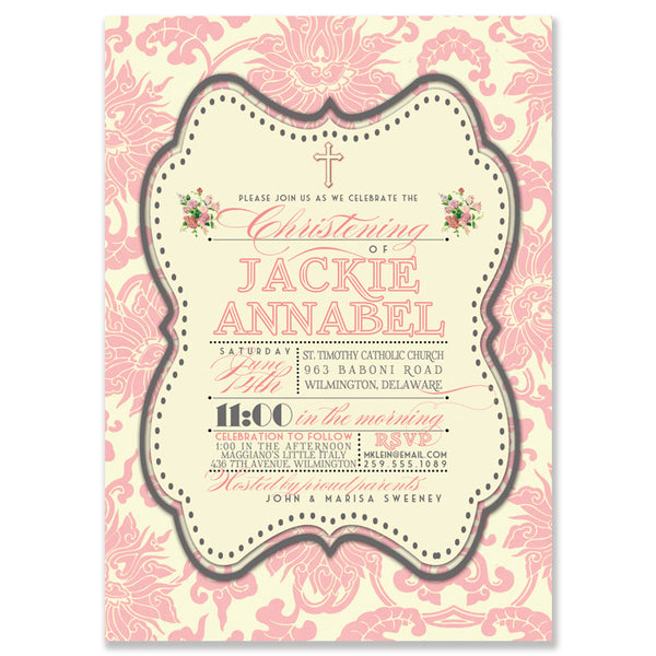 """Jackie"" Pink Damask Christening Invitation"