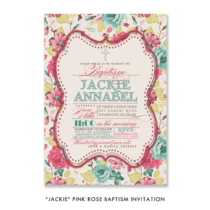 """Jackie"" Pink Rose Baptism Invitation"