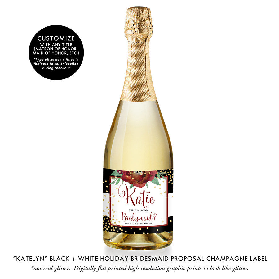 """Katelyn"" Black + White Holiday Bridesmaid Proposal Champagne Labels"