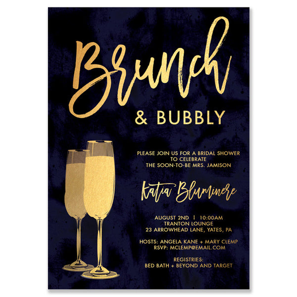 """Katia"" Navy and Gold Brunch + Bubbly Bridal Shower Invitation"