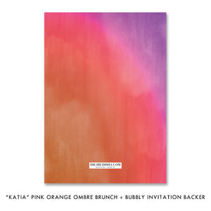 """Katia"" Pink Orange Ombre Brunch + Bubbly Bridal Shower Invitation"