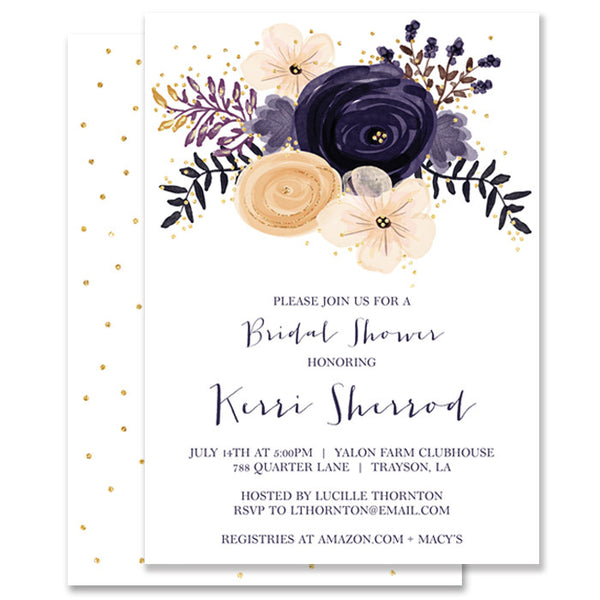 """Kerri"" Boho Plum Floral Bridal Shower Invitation"