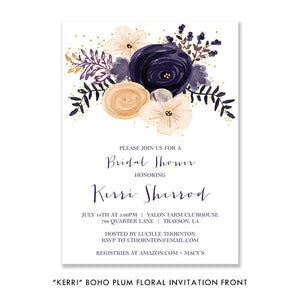 "Boho plum floral ""Kerri"" bridal shower invitation 