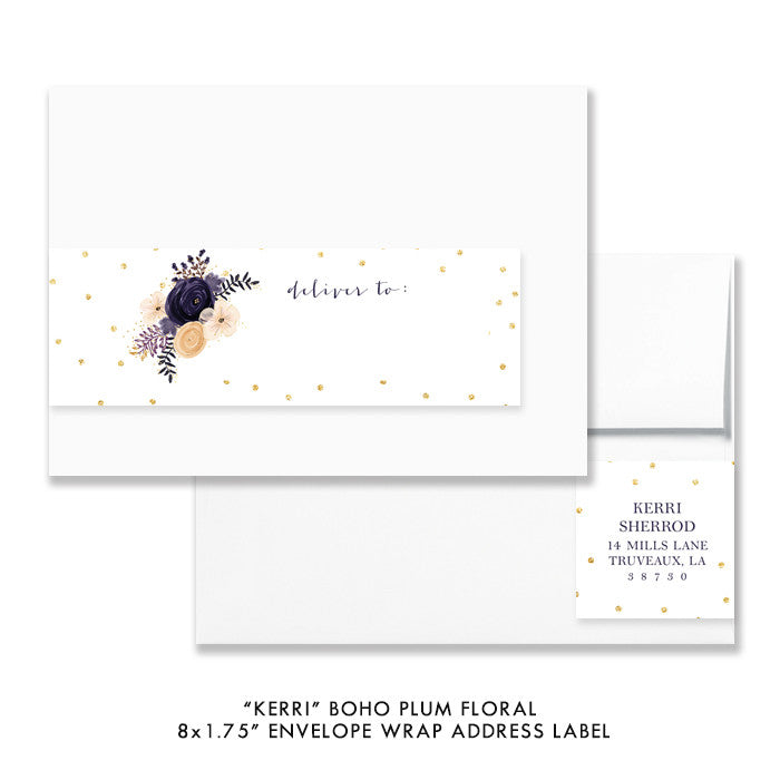 "Boho plum floral ""Kerri"" envelope wrap address label 