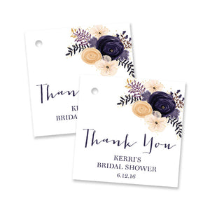 """Kerri"" Boho Plum Floral Bridal Shower Favor Tags"