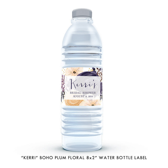 "Boho plum floral ""Kerri"" waterproof water bottle label 