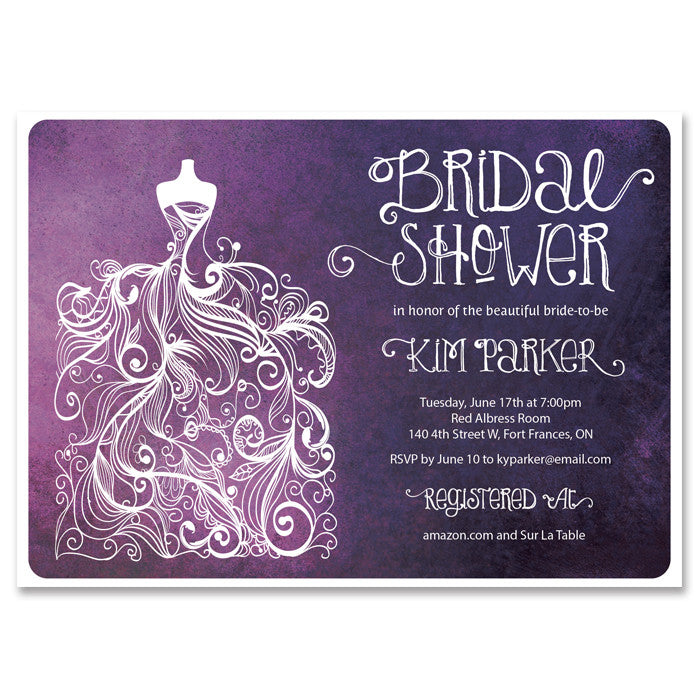 """Kim"" Purple Watercolor Bridal Shower Invitation"
