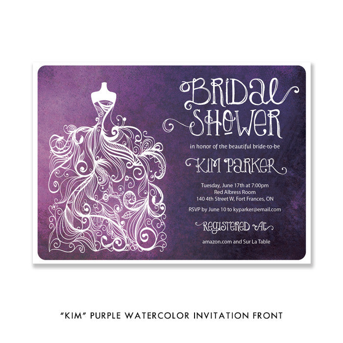"Purple watercolor Wedding Dress ""Kim"" bridal shower invitation 