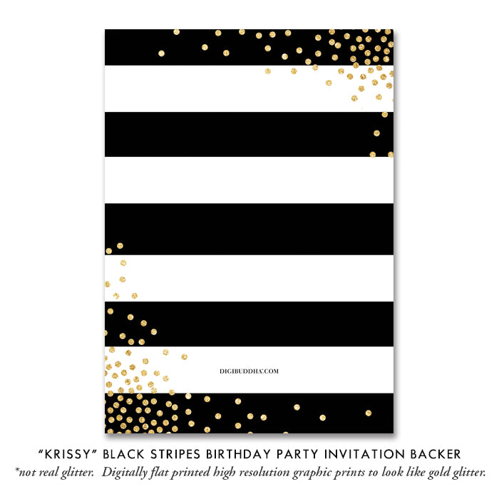 """Krissy"" Black Stripes Birthday Party Invitation"