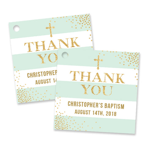 """Krissy"" Mint Stripe Baptism Favor Tags"