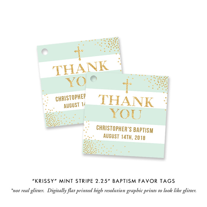 """Krissy"" Mint Striped Baptism Invitation"