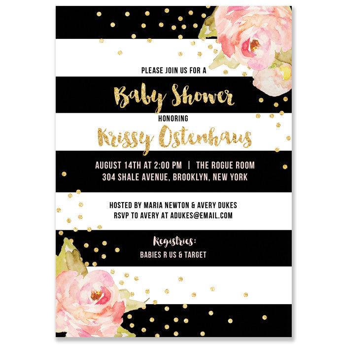 """Krissy"" Black Stripe Baby Shower Invitation"