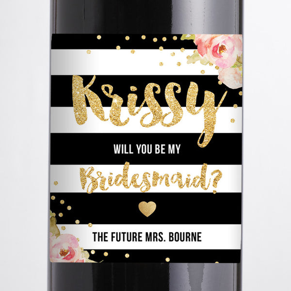 """Krissy"" Stripes + Pink Peonies Bridesmaid Proposal Wine Labels"