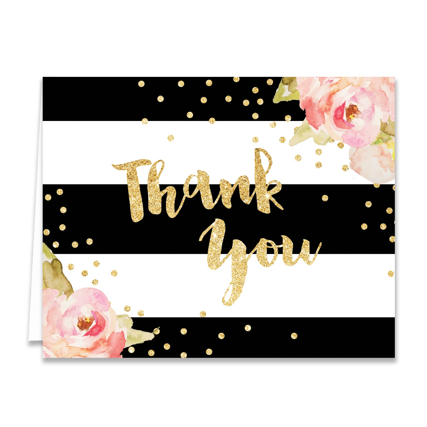 """Krissy"" Black Stripes Thank You Card"