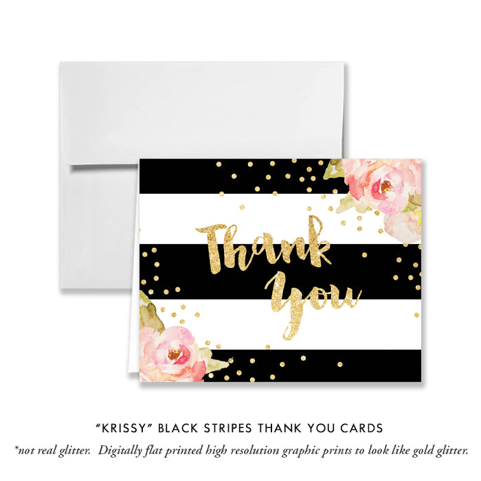 """Krissy"" Black Stripe Baptism Invitation"