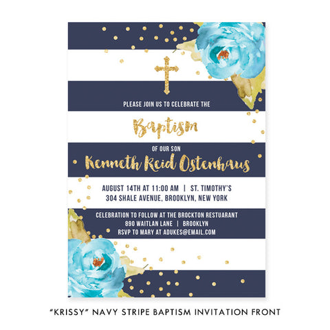 """Krissy"" Navy Stripe Baptism Invitation"