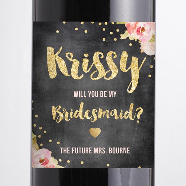 """Krissy"" Chalkboard Pink Peony Bridesmaid Proposal Wine Labels"