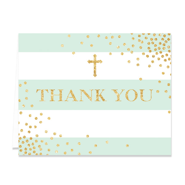 """Krissy"" Mint Stripe Religious Thank You Card"