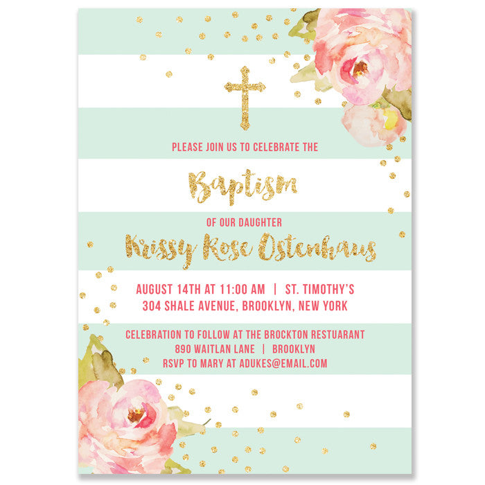 """Krissy"" Mint Stripe Baptism Invitation"