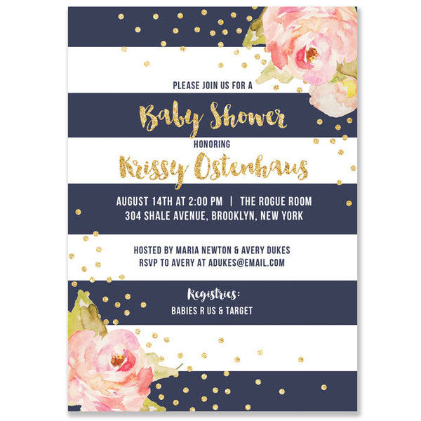 """Krissy"" Navy Stripe Baby Shower Invitation"