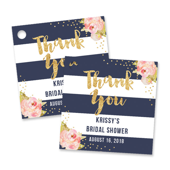 """Krissy"" Navy Stripe Bridal Shower Favor Tags"