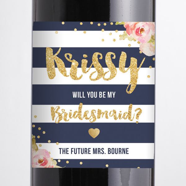 """Krissy"" Navy + Pink Peonies Bridesmaid Proposal Wine Labels"