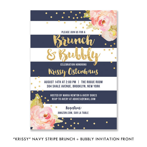 """Krissy"" Navy Stripe Brunch + Bubbly Bridal Shower Invitation"
