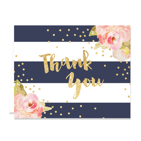 """Krissy"" Navy Stripe Thank You Card"