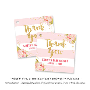 """Krissy"" Blush Stripe Baby Shower Invitation"