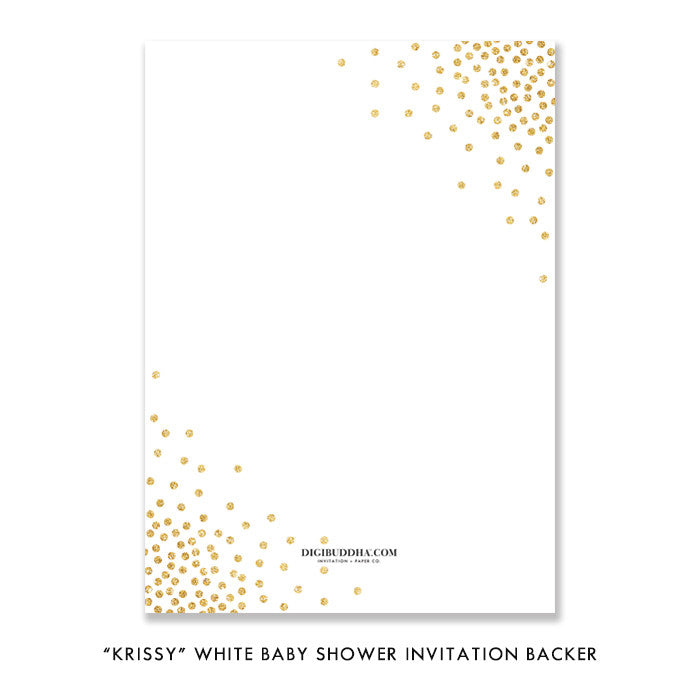 """Krissy"" White Baby Shower Invitation"