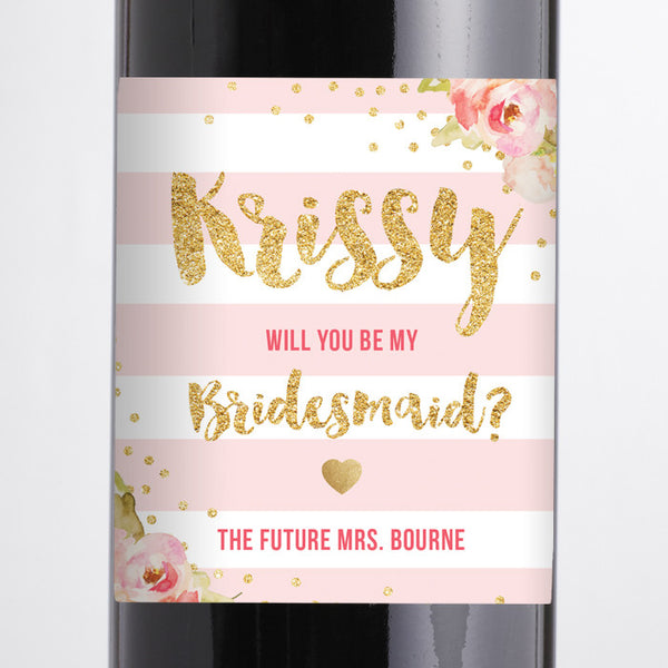 """Krissy"" Blush Pink Peonies Bridesmaid Proposal Wine Labels"