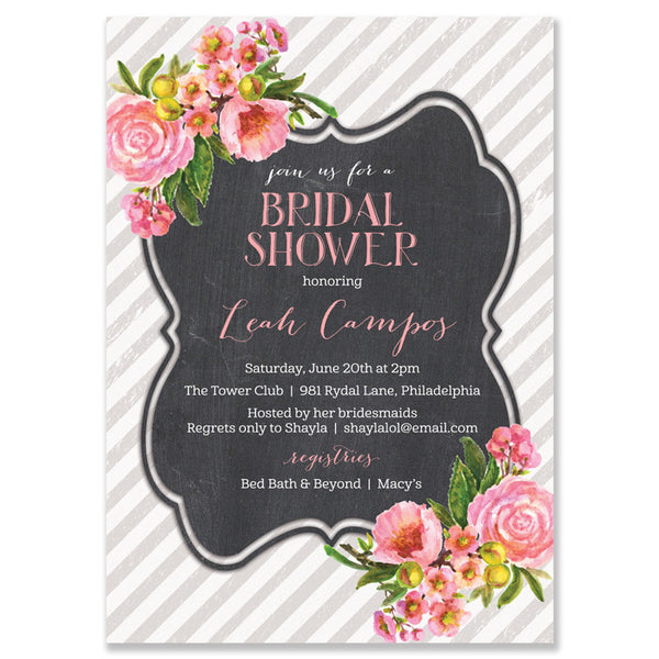 """Leah"" Pink Bloom + Chalkboard Bridal Shower Invitation"