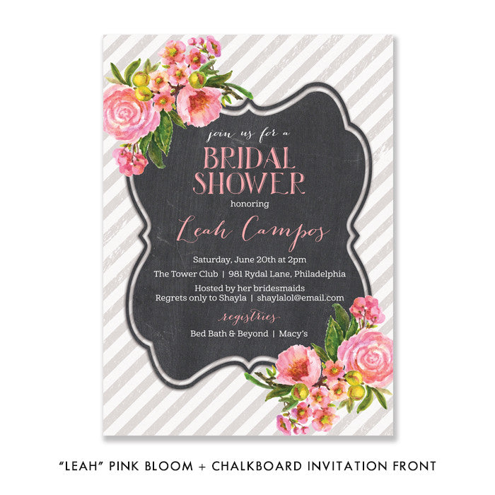 "Pink bloom + chalkboard ""Leah"" bridal shower invitation 