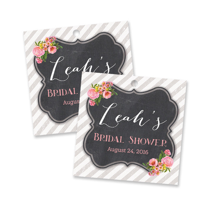 "Pink watercolor bloom + chalkboard ""Leah"" bridal shower favor tags 