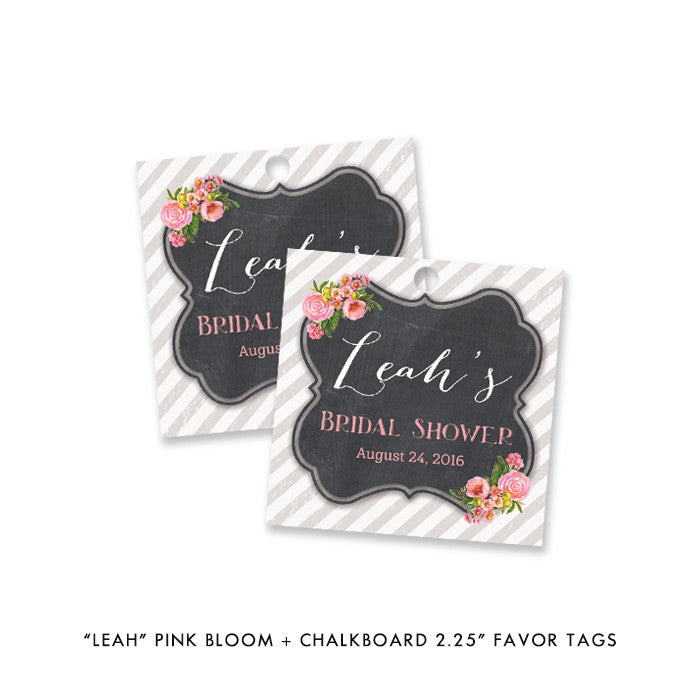 "Pink bloom + chalkboard ""Leah"" bridal shower favor tags 