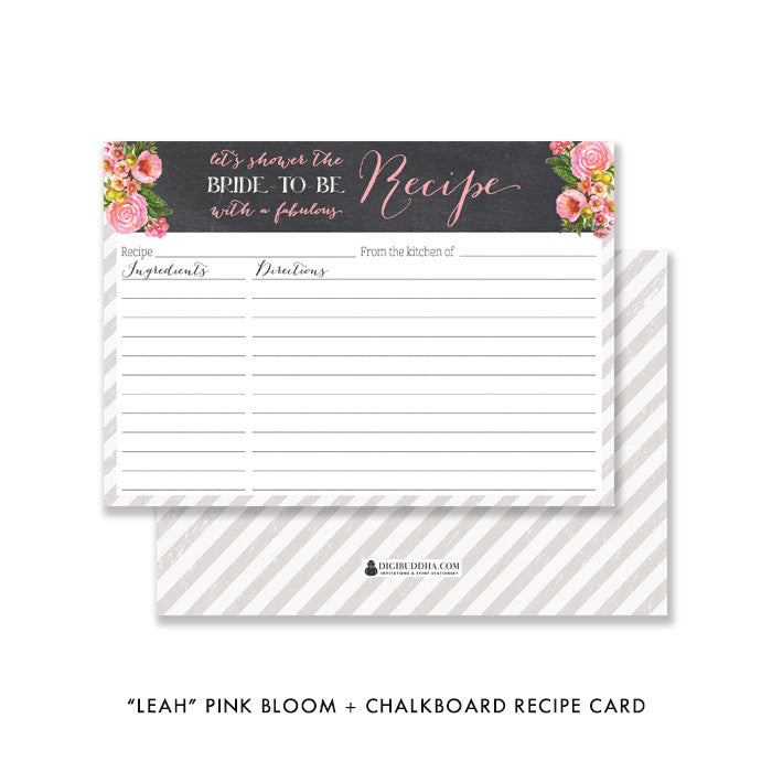 "Pink bloom + chalkboard ""Leah"" Bridal shower recipe card 