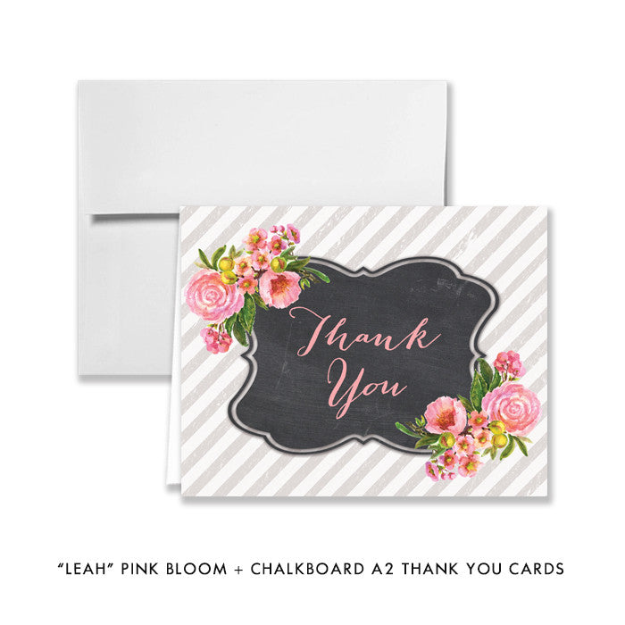 "pink bloom + chalkboard ""Leah"" folded thank you cards 