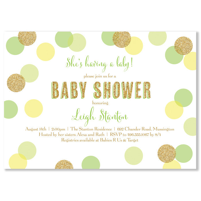 """Leigh"" Lime, Yellow + Gold Glitter Dots Baby Shower Invitation"