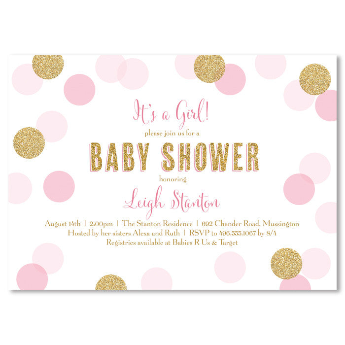 pink gold glitter confetti dot baby shower invitation digibuddha