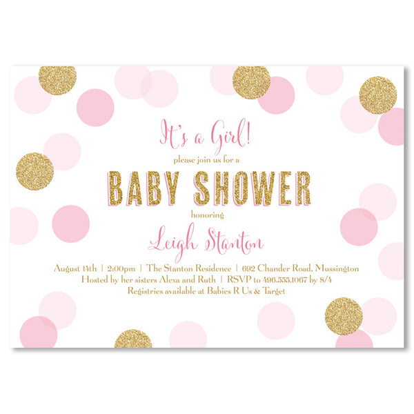 """Leigh"" Pink + Gold Glitter Dots Baby Shower Invitation"