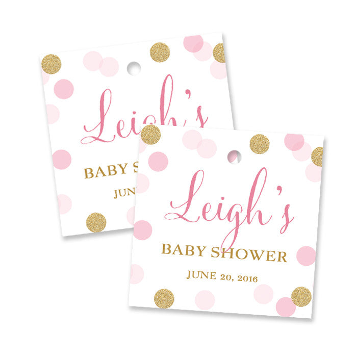 "Pink + gold glitter dots ""Leigh"" baby shower favor tags 