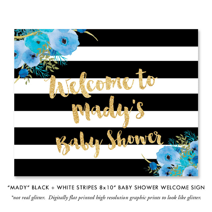 """Mady"" Black + White Stripe Blue Flowers Baby Sprinkle Invitation"