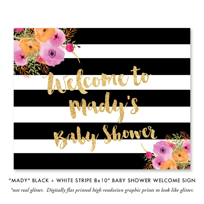 """Mady"" Black + White Stripe Baby Sprinkle Invitation"