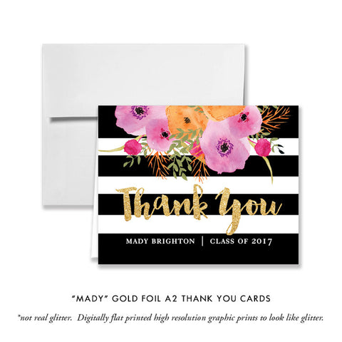 """Mady"" Black + White Stripe Graduation Thank You Card"