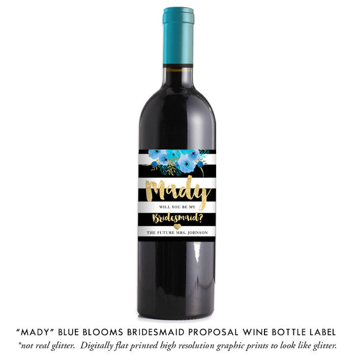 """Mady"" Blue Blooms Bridesmaid Proposal Wine Labels"