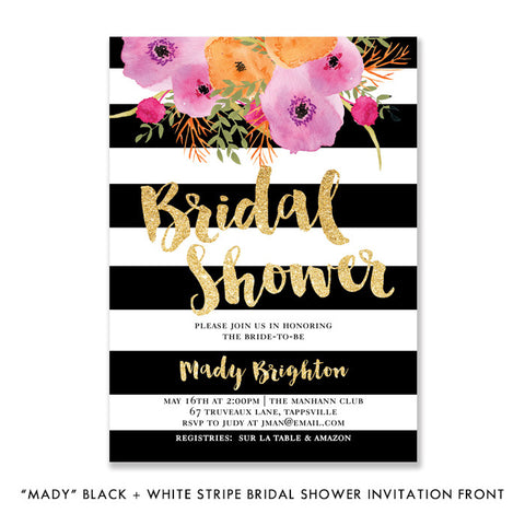 """Mady"" Black + White Stripe Bridal Shower Invitation"