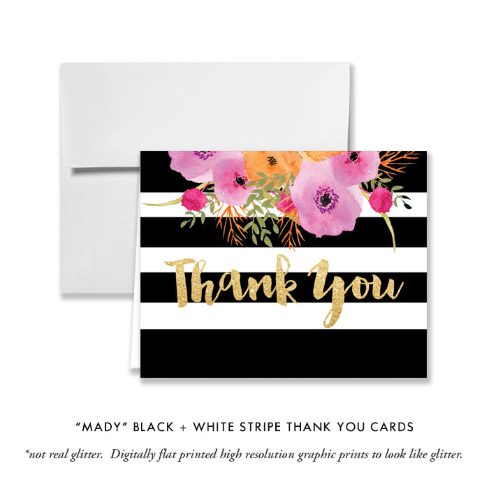 """Mady"" Black + White Stripe Thank You Card"