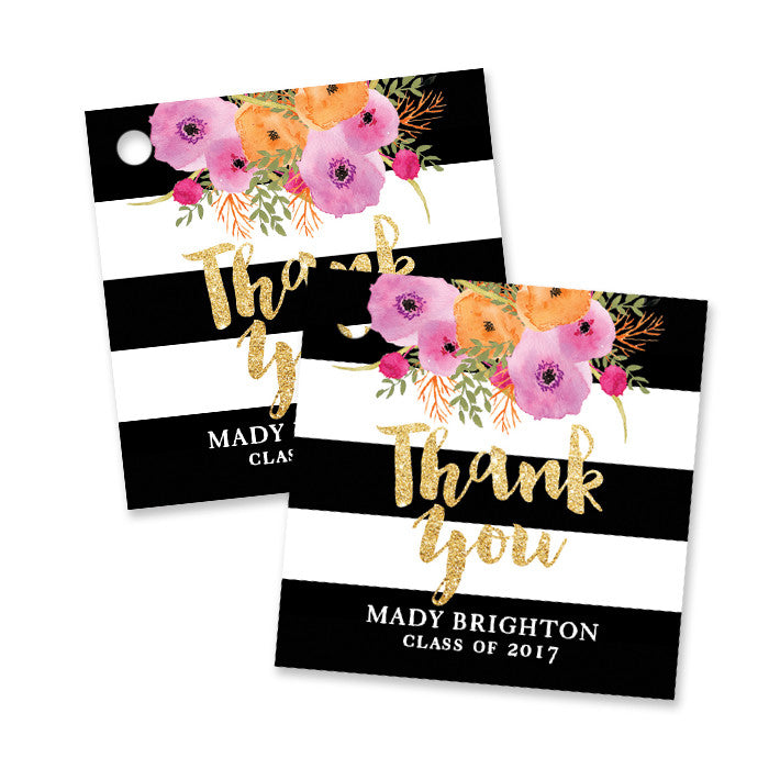 """Mady"" Black + White Stripe Graduation Favor Tags"